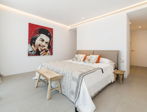 One of the bedrooms in Casa Can Lima, Ibiza