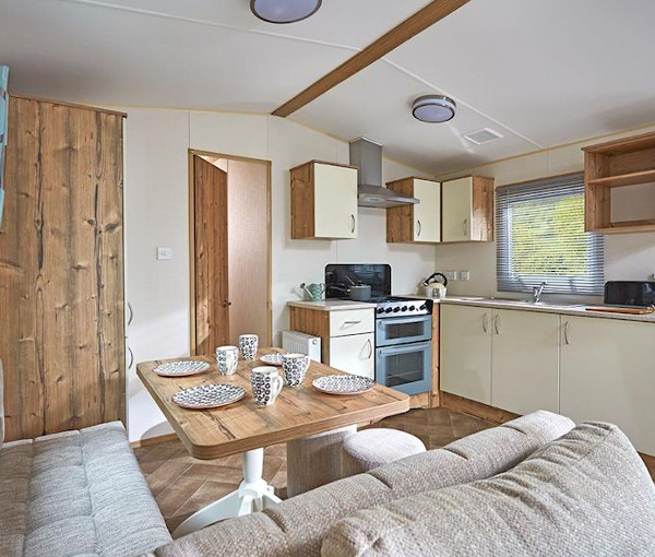 Inside a caravan at Forget Me Not Country Park in Longhorsley