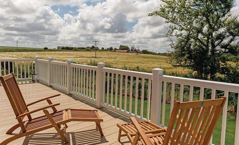 The lodges at Mundesley Holiday Village have lovely views from the deck