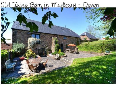 Old Traine Barn in Modbury, Devon is a 14th century property, now a holiday cottage sleeping 10 people