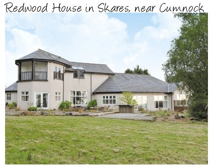 Redwood House is a large, detached, holiday cottage in Skares, near Cumnock. Redwood House sleeps 10 people