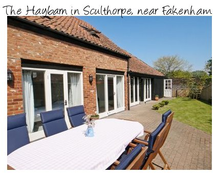 The Haybarn is a holiday cottage near the North Norfolk coast, situated in the village of Sculthorpe, near Fakenham. The Haybarn sleeps 8 people