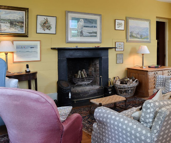 The living room at The School House in Coryton, near Okehampton