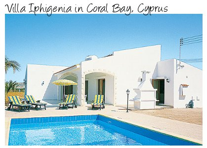 Villa Iphigenia in Coral Bay, Cyprus is a holiday villa sleeping 6 people in 3 bedrooms