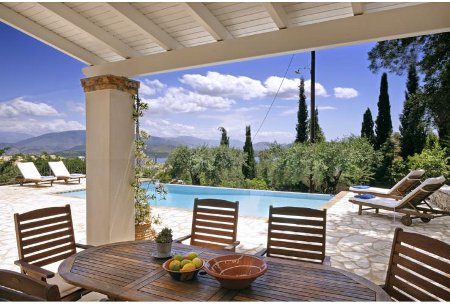 The outdoor dining area at Villa Ricco on Corfu