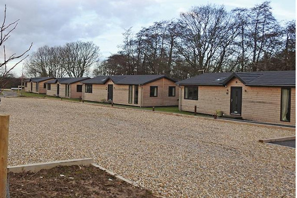 The setting of the lodges at Warren Wood Country Park in East Sussex