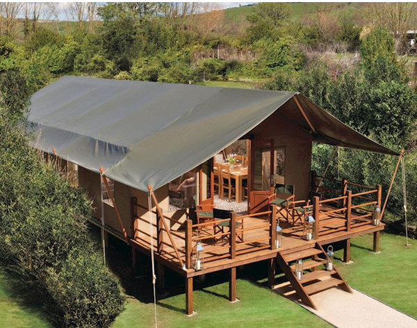 Waterside Safari Tents in Weymouth, Dorset, are holiday lodges on the south coast - some with a hot tub